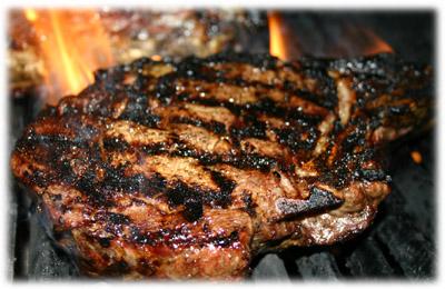 grilling rib steak