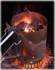 flaming charcoal chimney