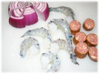 shrimp sausage and red onion