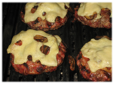 ground sirloin burgers with fried mushrooms, pancetta bacon and melted swiss cheese