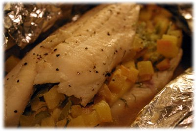 grilled sole with peaches