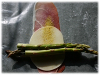 prosciutto with provolone and asparagus