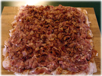 fried bacon on sausage patty