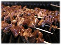grilling beef kebabs