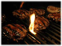 burgers on the grill bbq sauce