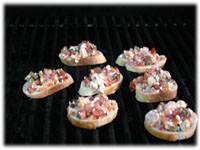 cooking bruschetta appetizers on the grill