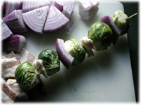 make kebabs with brussel sprouts