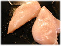 boneless skinless chicken with oil and salt