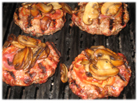 burgers with mushrooms and pancetta bacon