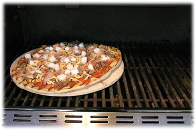 pizza stone on the grill