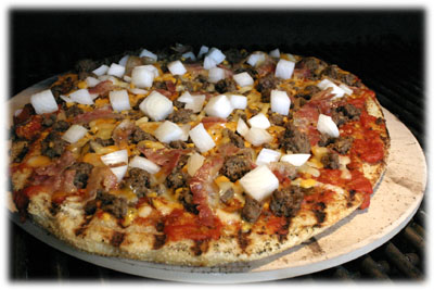 easy cheeseburger pizza on the grill