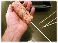 making kofta skewers