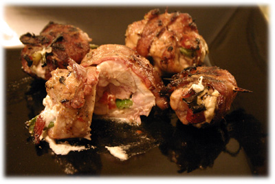 bacon wrapped chicken stuffed with goat cheese and red peppers