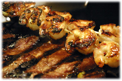 grilled shrimp and steak