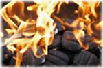 flaming briquettes