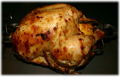 garlic ginger bbq chicken cooked on rotisserie