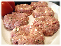 making greek pork burgers