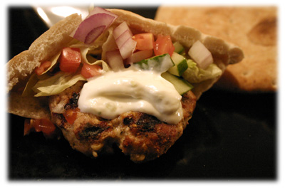 greek burgers in a pita