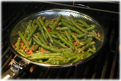 grilled green beans and red pepper