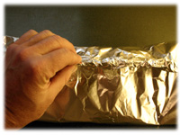 sealing potato foil pouch