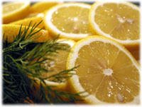 sliced lemons and dill