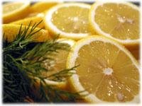 sliced lemons and dill
