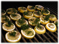 lemons and dill on the BBQ