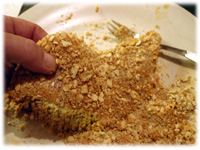 fish coated with crushed crackers