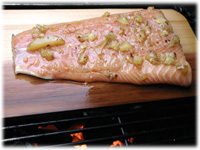 grilling salmon on bbq