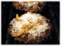parmesan and onions on hamburgers