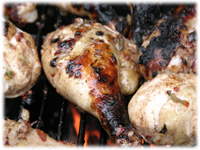 jerk drumsticks on the bbq
