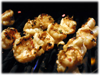 cooking marinated grilled shrimp