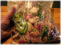 marinating greek vegetables and pork