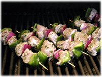 grilling greek pork skewers