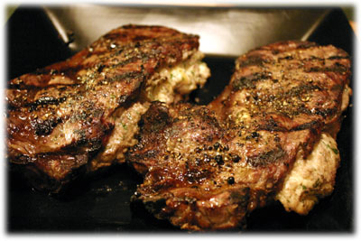 grilled rib eye steaks stuffed with crab