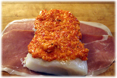 roasted red pepper sauce on fish