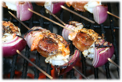 shrimp appetizers on skewer