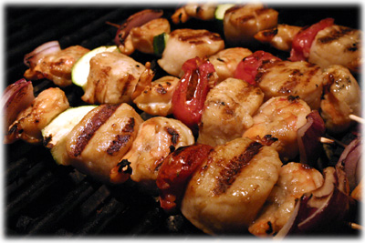 grilled scallops and shrimp skewers