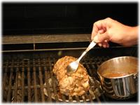 roast pork on the grill
