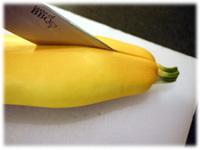 splitting a zucchini