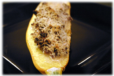 stuffed zucchini recipe on the BBQ