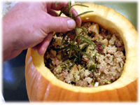 thanksgiving stuffing in a pumpkin