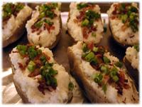 bacon onion green pepper in potatoes