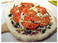 making a vegetable pizza recipe