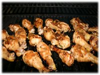 barbecuing drumsticks