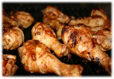 grilled Asian flavored chicken drumsticks