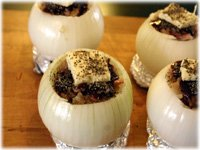 stuffed onion with bbq sauce butter and pepper