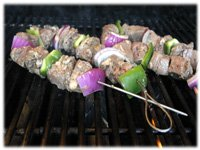 grilling beef shish kabobs