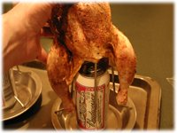 putting a chicken on beer can