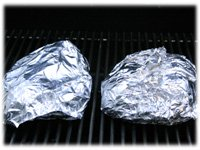 foil wrapped squash on the grill